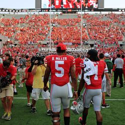 Bradley Roby and Braxton Miller after the W.