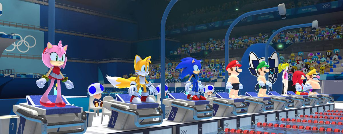 Mario and Sonic characters line up for a swimming competition at the Tokyo Olympics