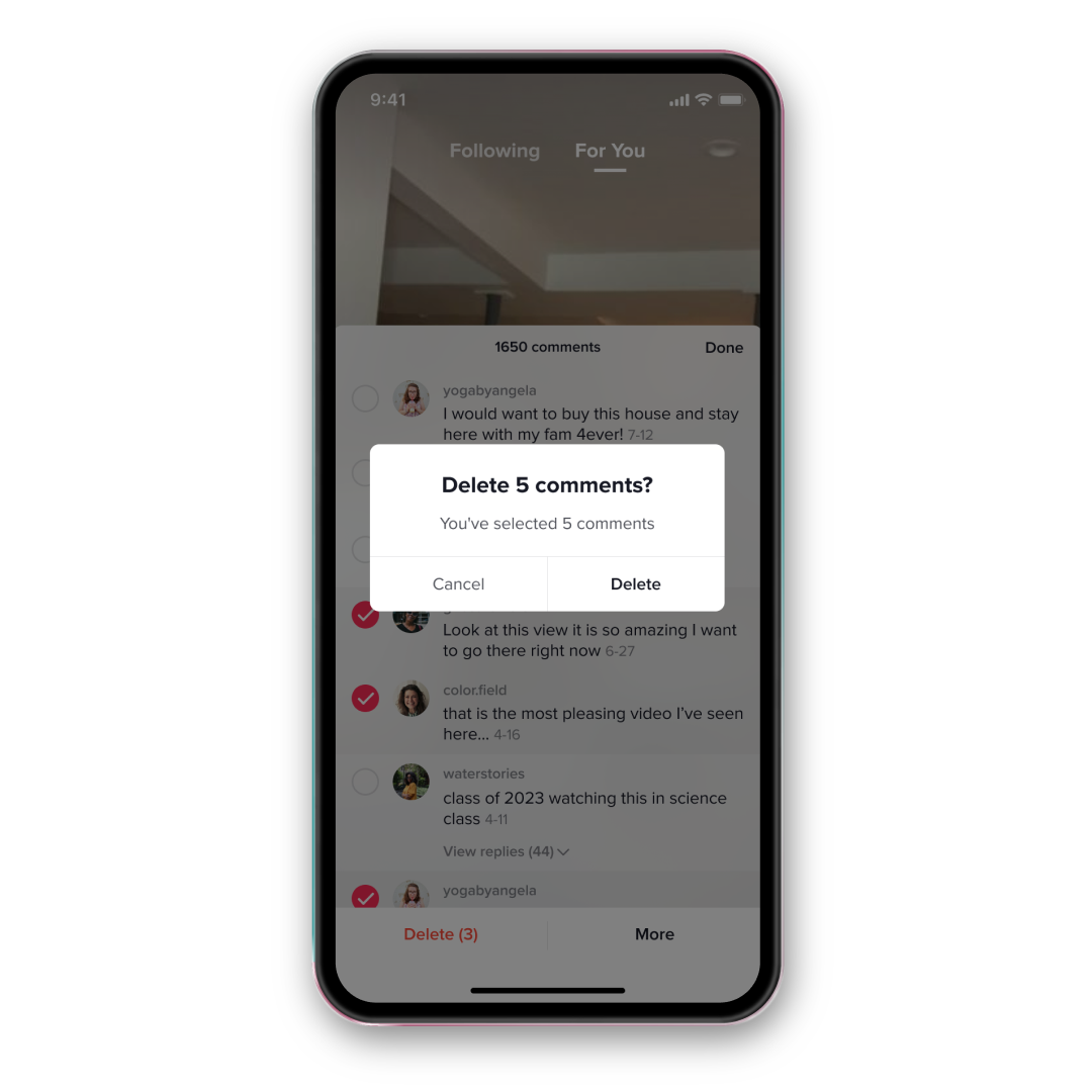 """A pop-up in the middle of the screen reads, """"Delete 5 comments? You've selected 5 comments"""" with the option to cancel or delete. Beneath the pop-up, comments are shown with boxes checked beside several of them."""