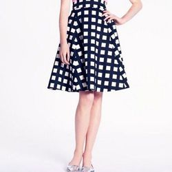 "Kate Spade <a href=""http://www.katespade.com/checkered-sadie-skirt/NJMU2233,default,pd.html?dwvar_NJMU2233_color=016&start=14&cgid=clothing-dresses-and-skirts"">Checkered Sadie Skirt</a>, $298"
