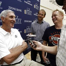 Jazz coach Jerry Sloan laughs Monday as he talks to reporters during media day at the Zions Bank Basketball Center.