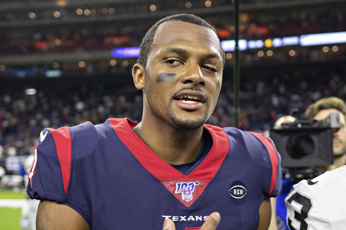 Deshaun Watson of the Houston Texans walks off the with a hurt eye after a game against the Oakland Raiders at NRG Stadium on October 27, 2019 in Houston, Texas.