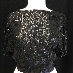 1920s sheer sequined black blouse, $95