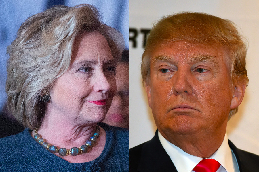Donald Trump Hillary Clinton heads side by side