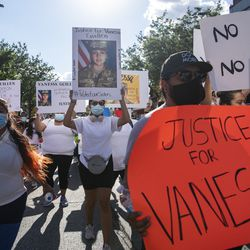 Hundreds of people rallied and marched though Little Village demanding justice for Vanessa Guillen, Friday, July 10, 2020. Guillen was a U.S. Army Soldier who was killed on April 22, in Fort Hood, Texas. | Tyler LaRiviere/Sun-Times
