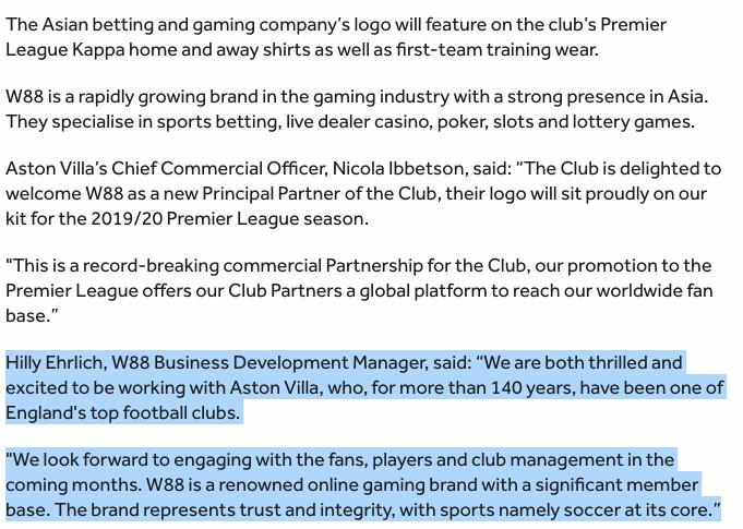 Who are W88? Aston Villa's new sponsor and their strange