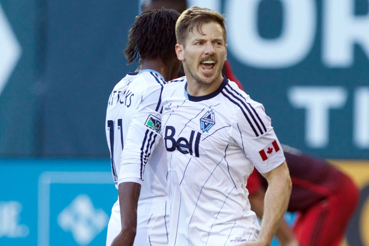 Jordan Harvey (R) scored another clutch goal for the Whitecaps in their first ever MLS victory at Providence Park