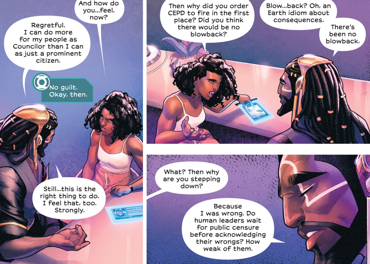 """Green Lantern Sojourner Ro interrogates an alien politician about his decision to allow police to use force on civilians. He has already decided to step down. """"Do human leaders wait for public censure before acknowledging their wrongs?"""" he says, """"How weak of them,"""" in Far Sector #6, DC Comics (2020)."""