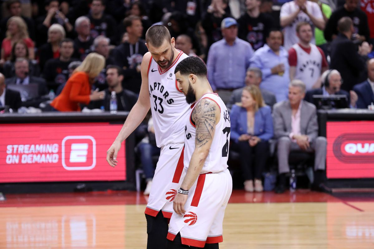Marc Gasol and Fred VanVleet of the Toronto Raptors talk during Game One of the NBA Finals against the Golden State Warriors on May 30, 2019 at Scotiabank Arena in Toronto, Ontario, Canada.