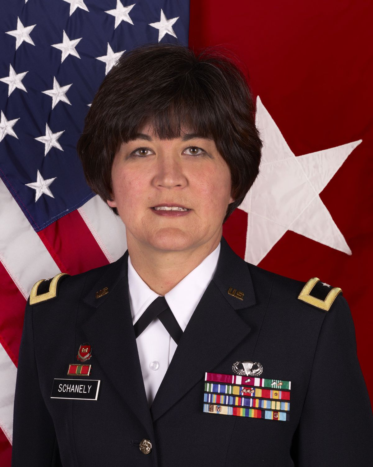 Miyako Schanely, the two-star general who has been reprimanded and relinquished her command of the Army Reserve's 416th Theater Engineer Command, based in Darien.