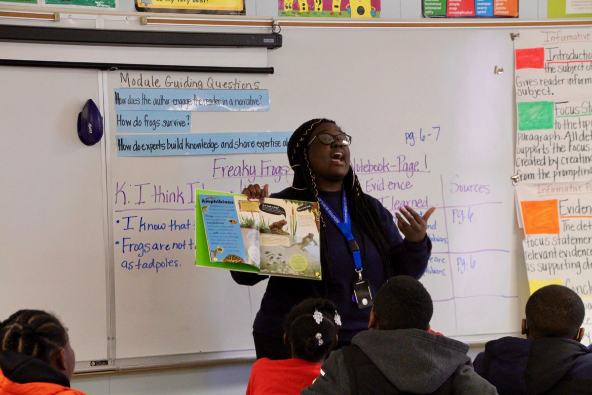 Epiphany Henry reads aloud to her Memphis Scholars classroom.