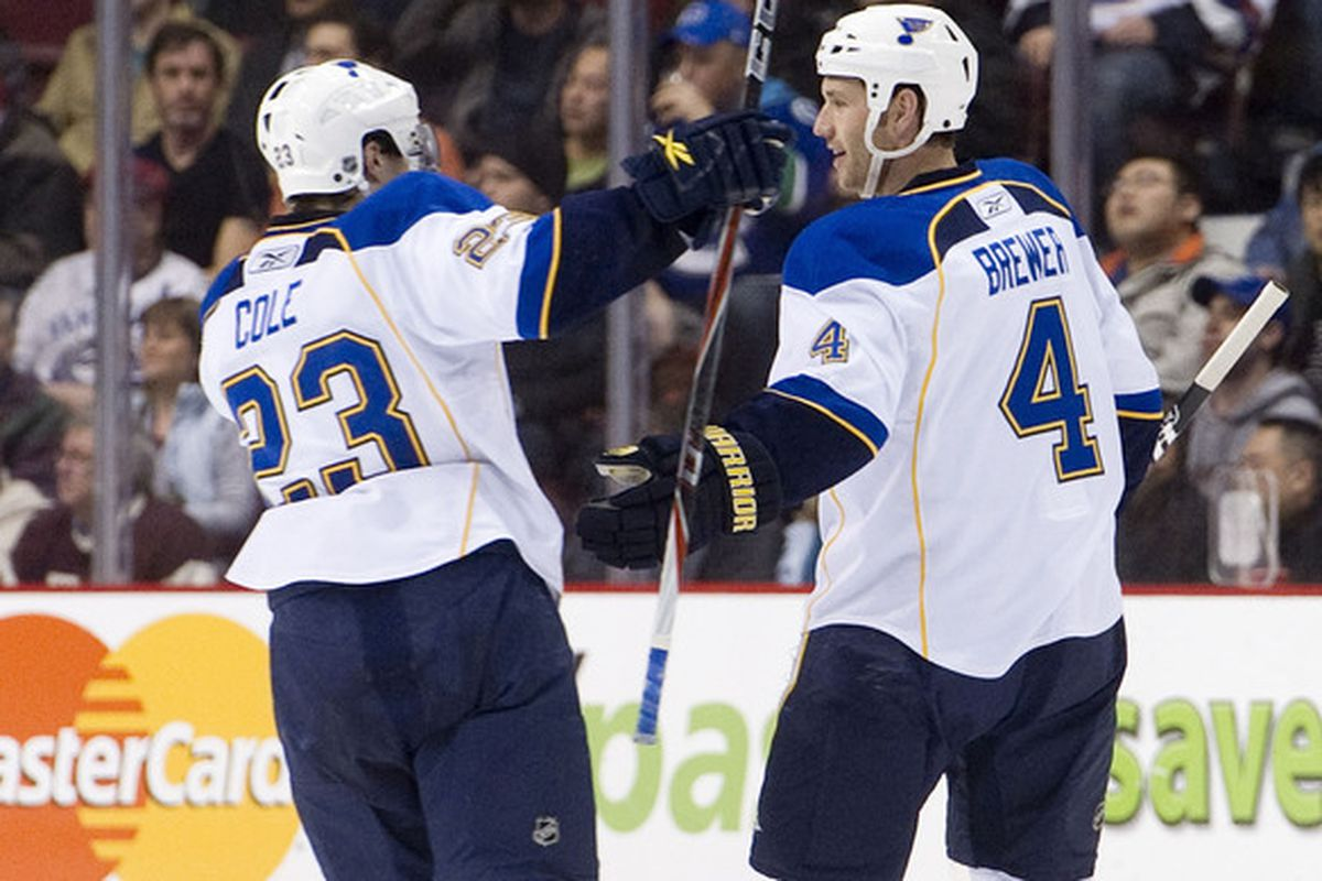 I sometimes like to try to forget Eric Brewer played for the Blues. But I TOTALLY forgot he was ever teammates with Ian Cole. Let's forget other shit, eh?