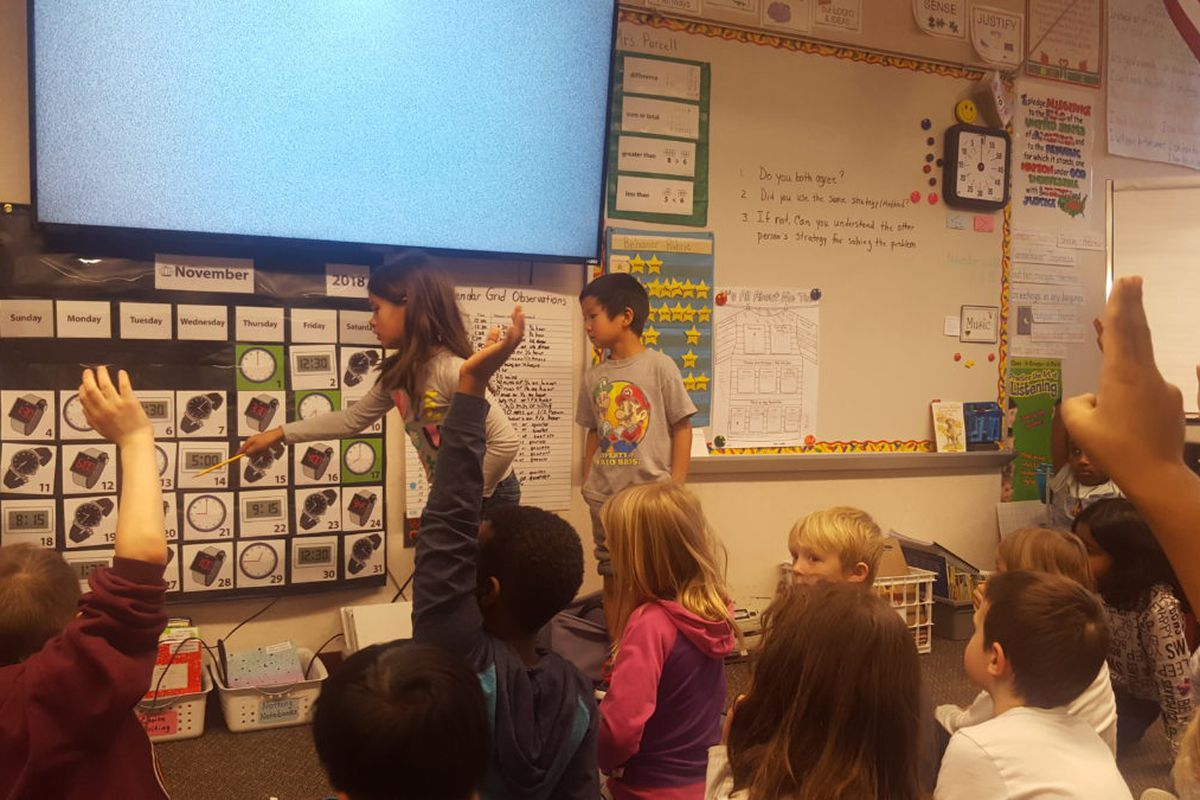A class of second graders at Aurora Quest K-8 talk about patterns.