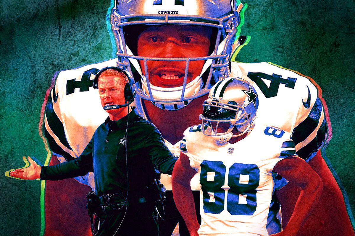 A photo collage of Jason Garrett, Dak Prescott, and Dez Bryant