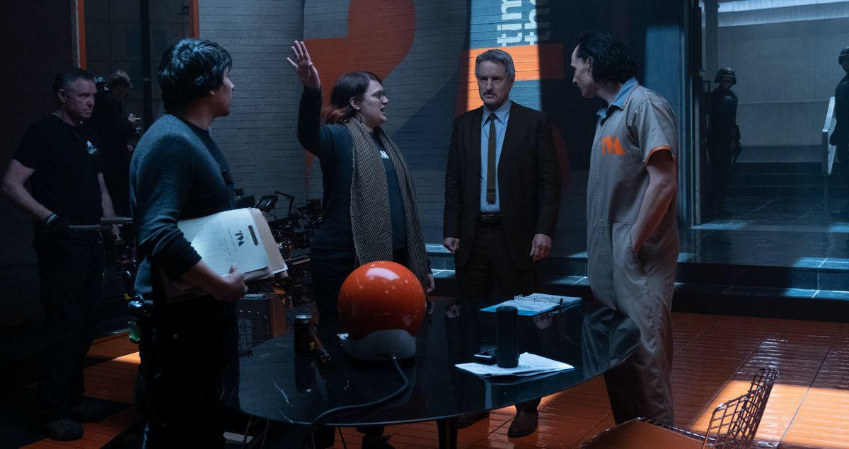 Kate Herron on the Loki set with Tom Hiddleston and Owen Wilson