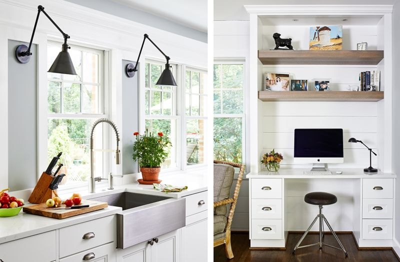Summer 2021, Before and After Kitchen, sink area and home office nook