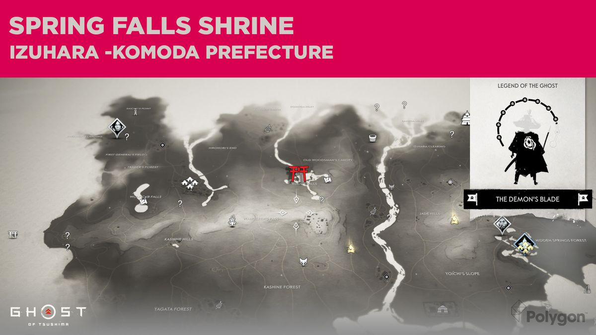 The location of Spring Falls Shrine in Ghost of Tsushima