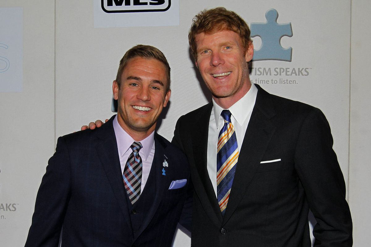 Lalas (right) chatted with Twellman (left) on LA2 stuff.