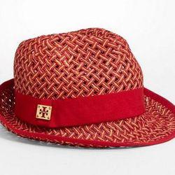 "<a href=""http://www.toryburch.com/Bi-Color-Fedora/21125015,default,pd.html?dwvar_21125015_color=630&start=12&cgid=accessories-hats-scarves-gloves""> Tory Burch bi-color fedora</a>, $99.00, toryburch.com"
