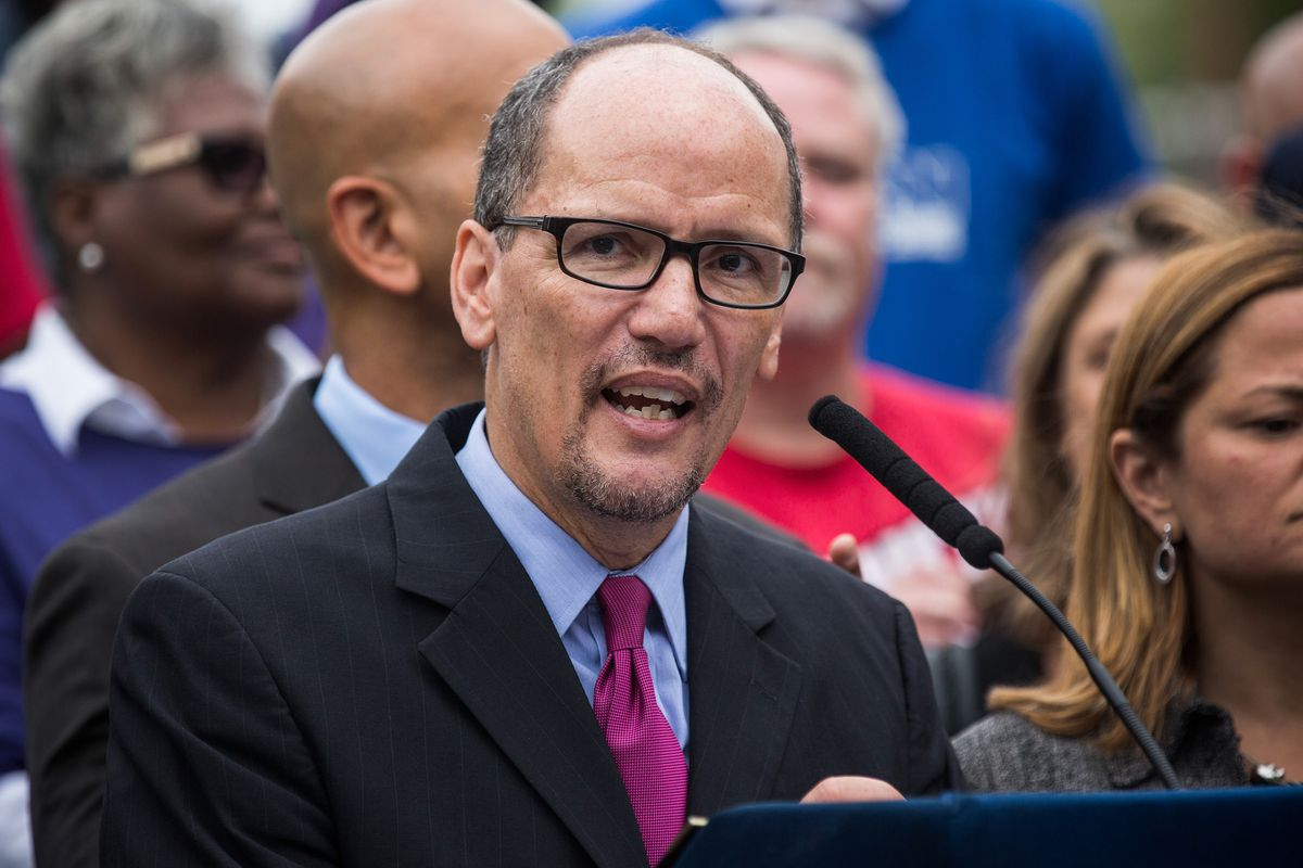 US Secretary of Labor Tom Perez speaks at a press conference.