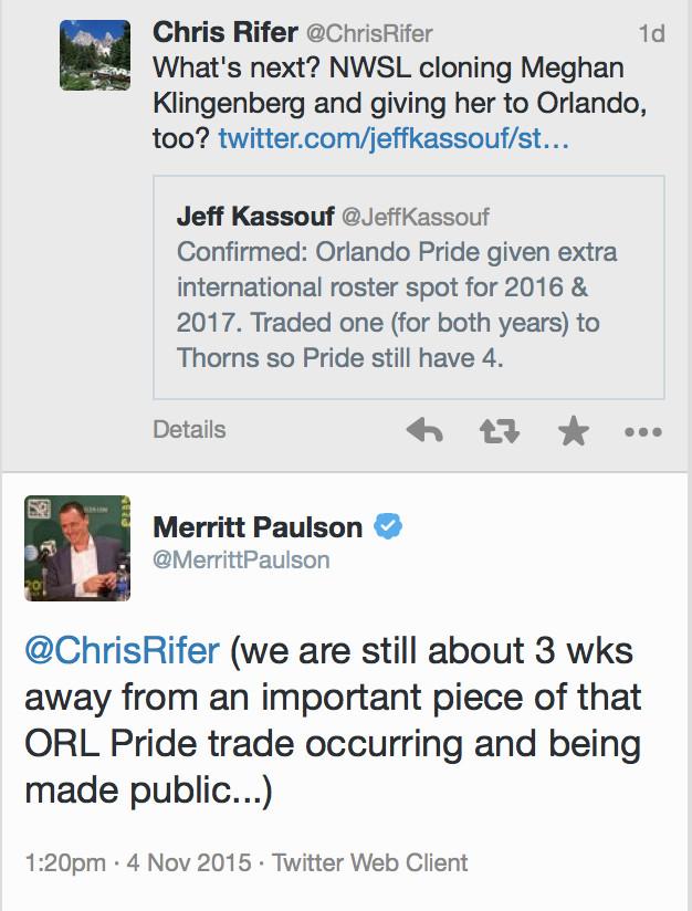 Merritt Paulson on the next part of the Alex Morgan Trade