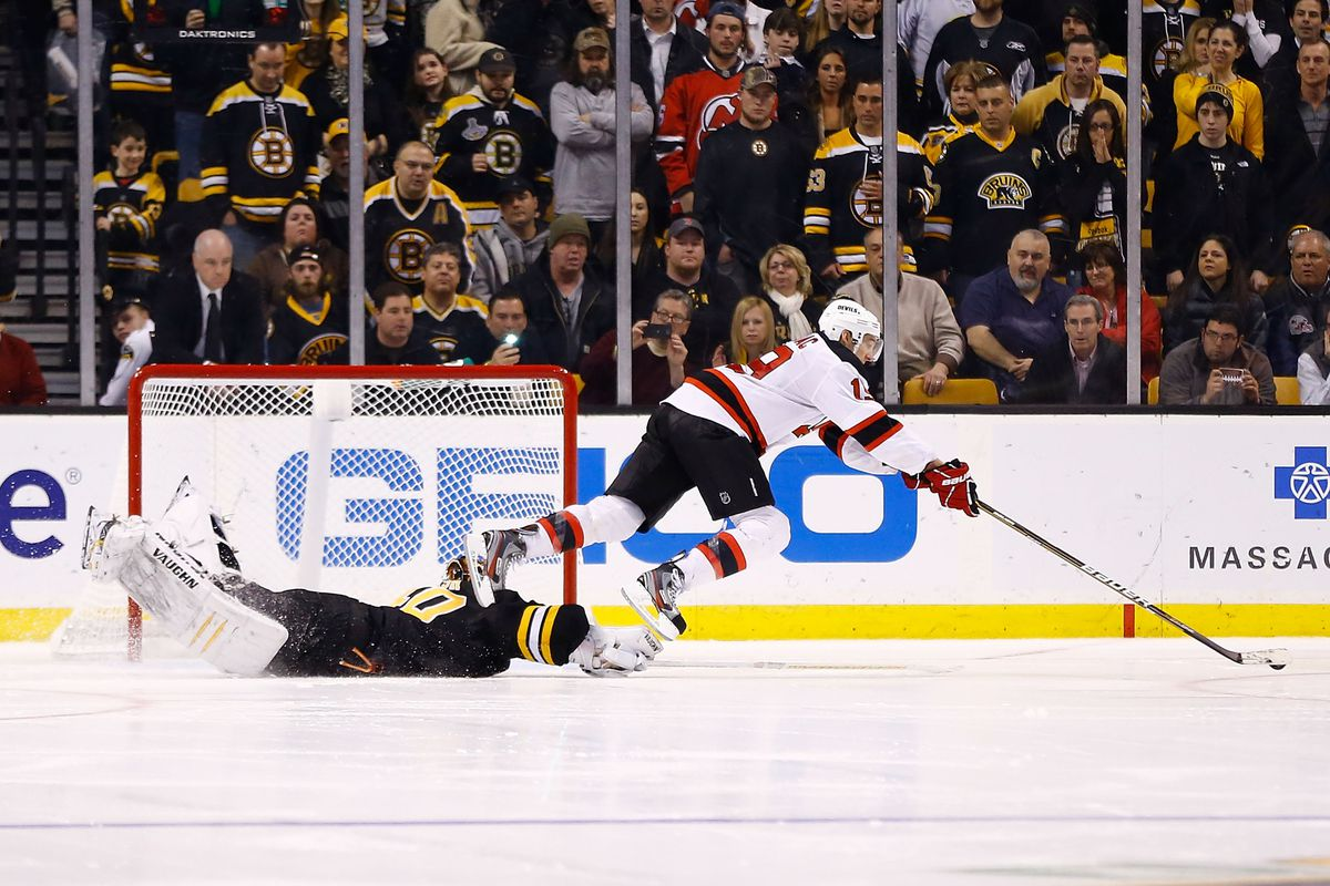Devils fell in the shootout, where Travis Zajac literally fell in one round.