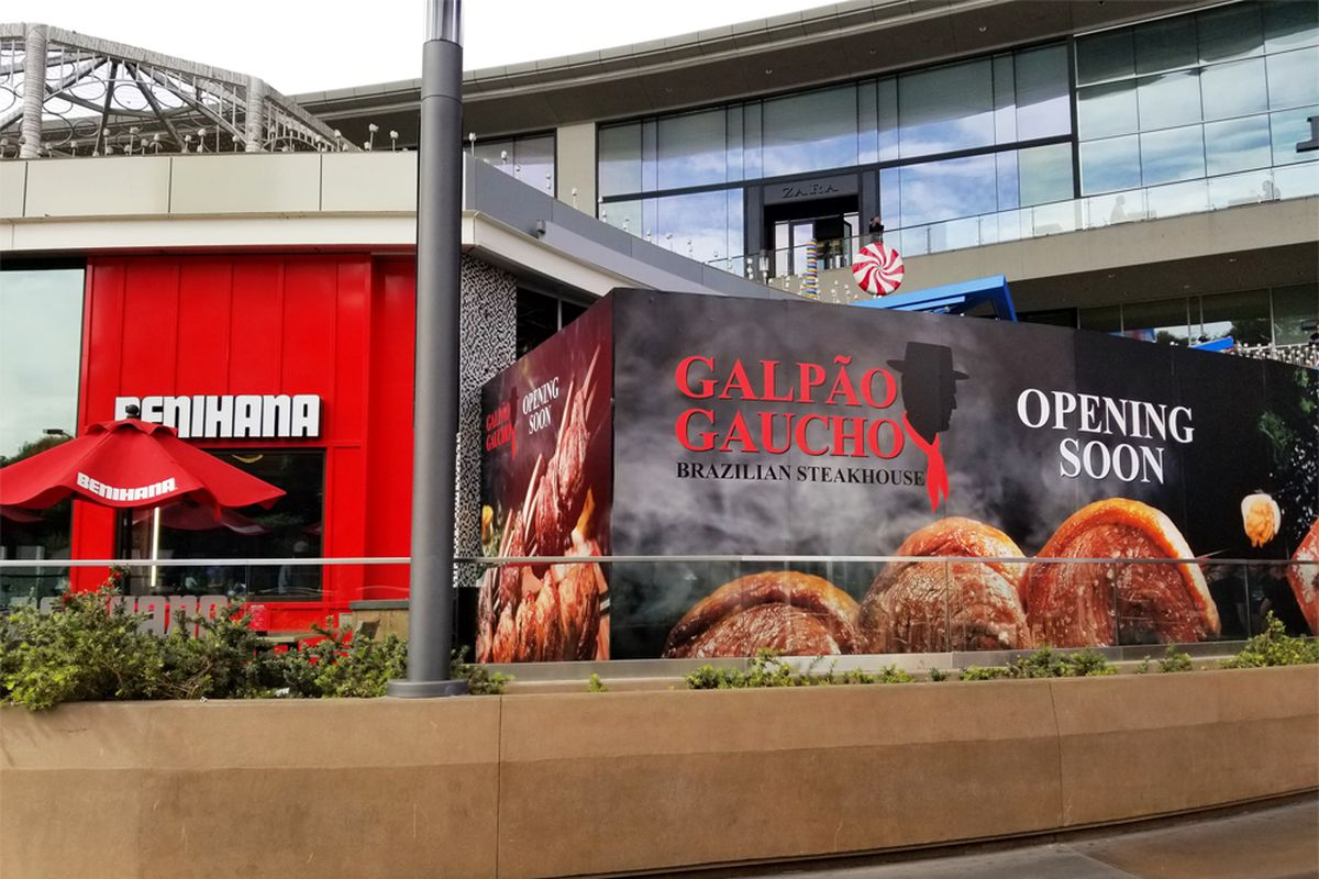 Plywood surrounding the Galpao Gaucho Brazilian Steakhouse, coming soon to the Fashion Show mall.