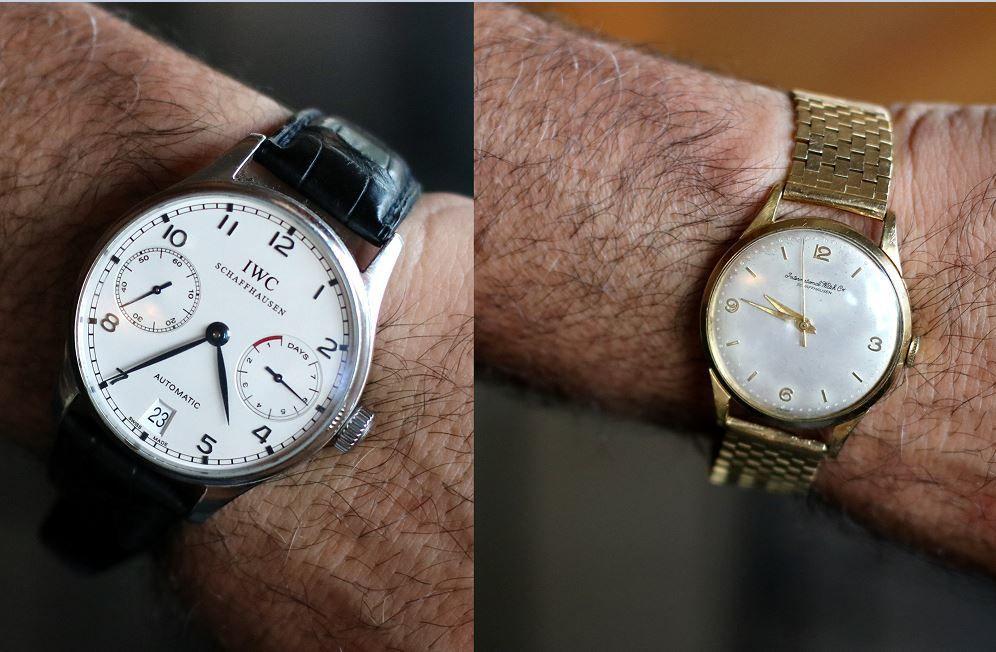 IWC Portugieser Automatic and vintage International Watch Company gold watch on Josiah Citrin's wrist