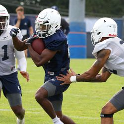 UConn's Nathan Carter #26 during UConn Huskies football practice on Saturday, August 7, 2021