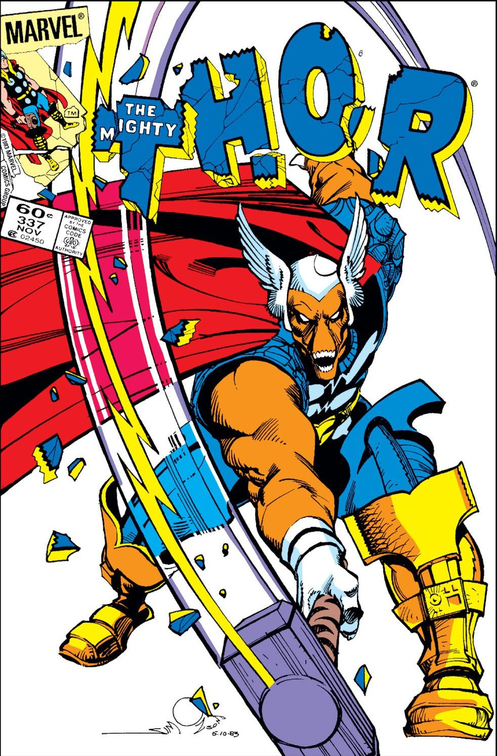 """Beta Ray Bill — an orange space warrior with a face like a horse's skull — swings Mjolnir down, smashing the letters """"THOR"""" on the cover of Thor #337, Marvel Comics (1983)."""