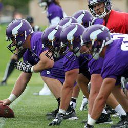 Jul 26, 2013; Mankato, MN, USA; Minnesota Vikings offensive line practices during training camp at Minnesota State University. Mandatory Credit: Brace Hemmelgarn-USA TODAY Sports