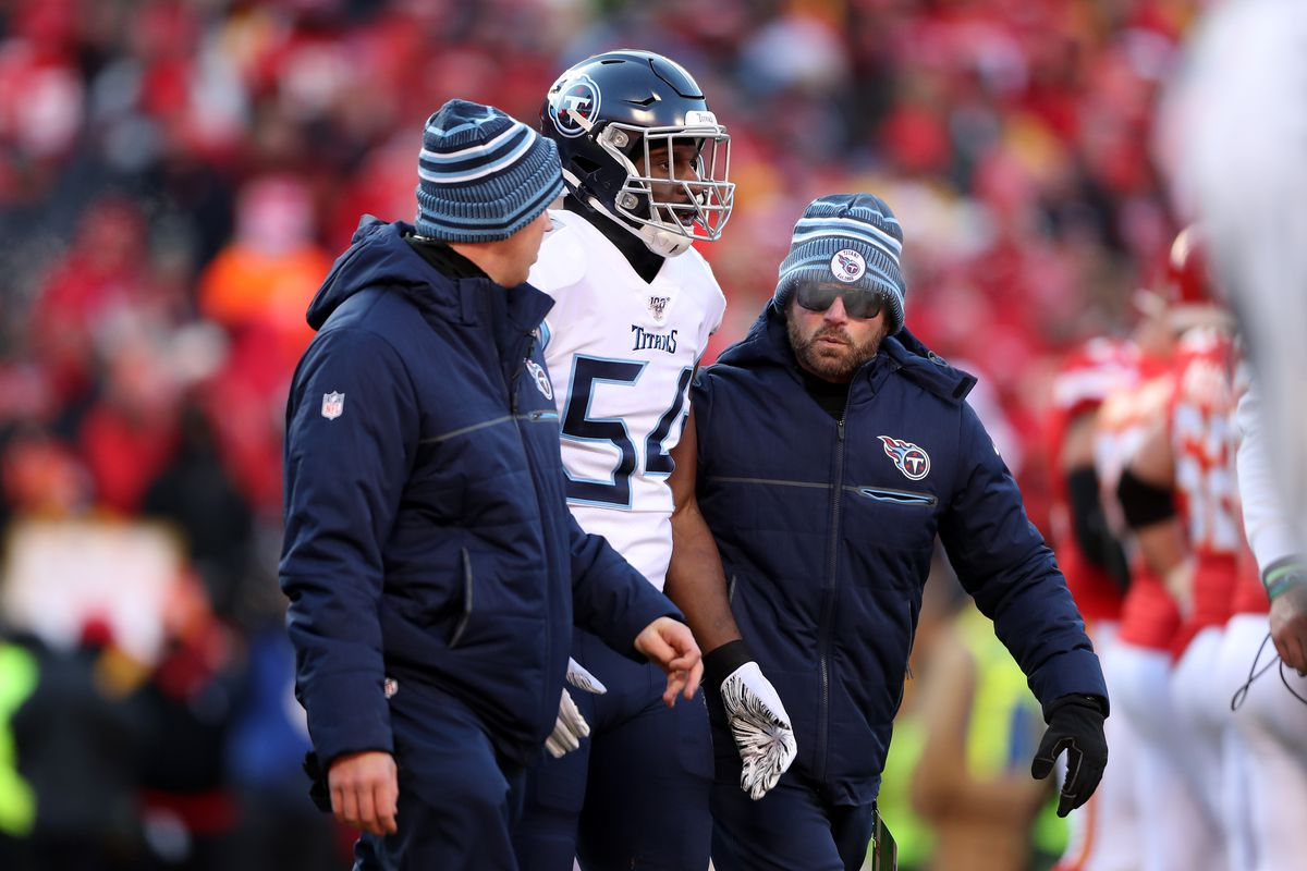 Rashaan Evans of the Tennessee Titans walks off the field in the first half against the Kansas City Chiefs in the AFC Championship Game at Arrowhead Stadium on January 19, 2020 in Kansas City, Missouri.