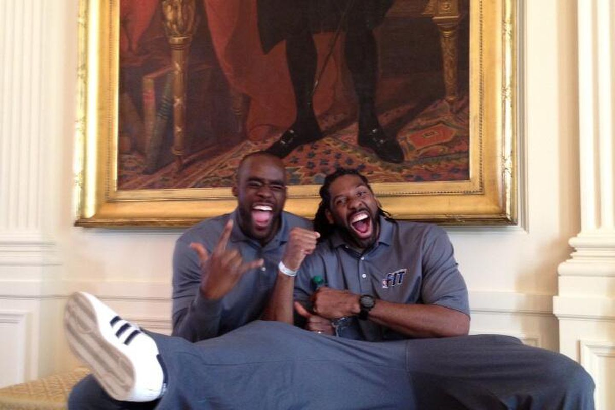 Emeka Okafor and Nene had some fun at the White House today.