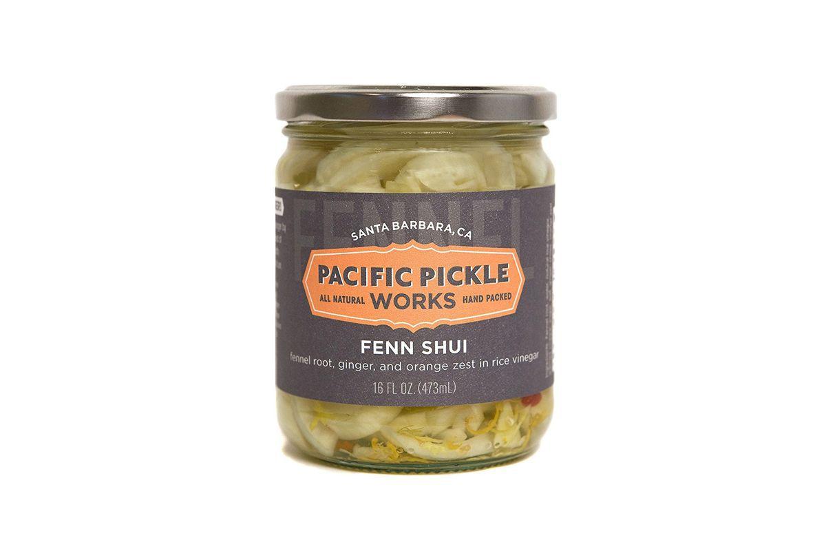 A jar of Fenn Shui Pickled Fennel Root in Rice Vinegar, Ginger, Thai Chile