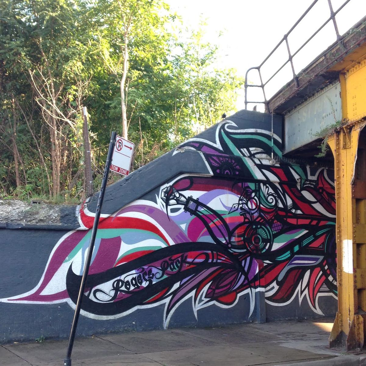 """This mural was painted by Miguel Del Real and other artists including graffiti artist """"Track"""" of the crew CAB 312 at an underpass at 7391 N. Rogers Ave."""