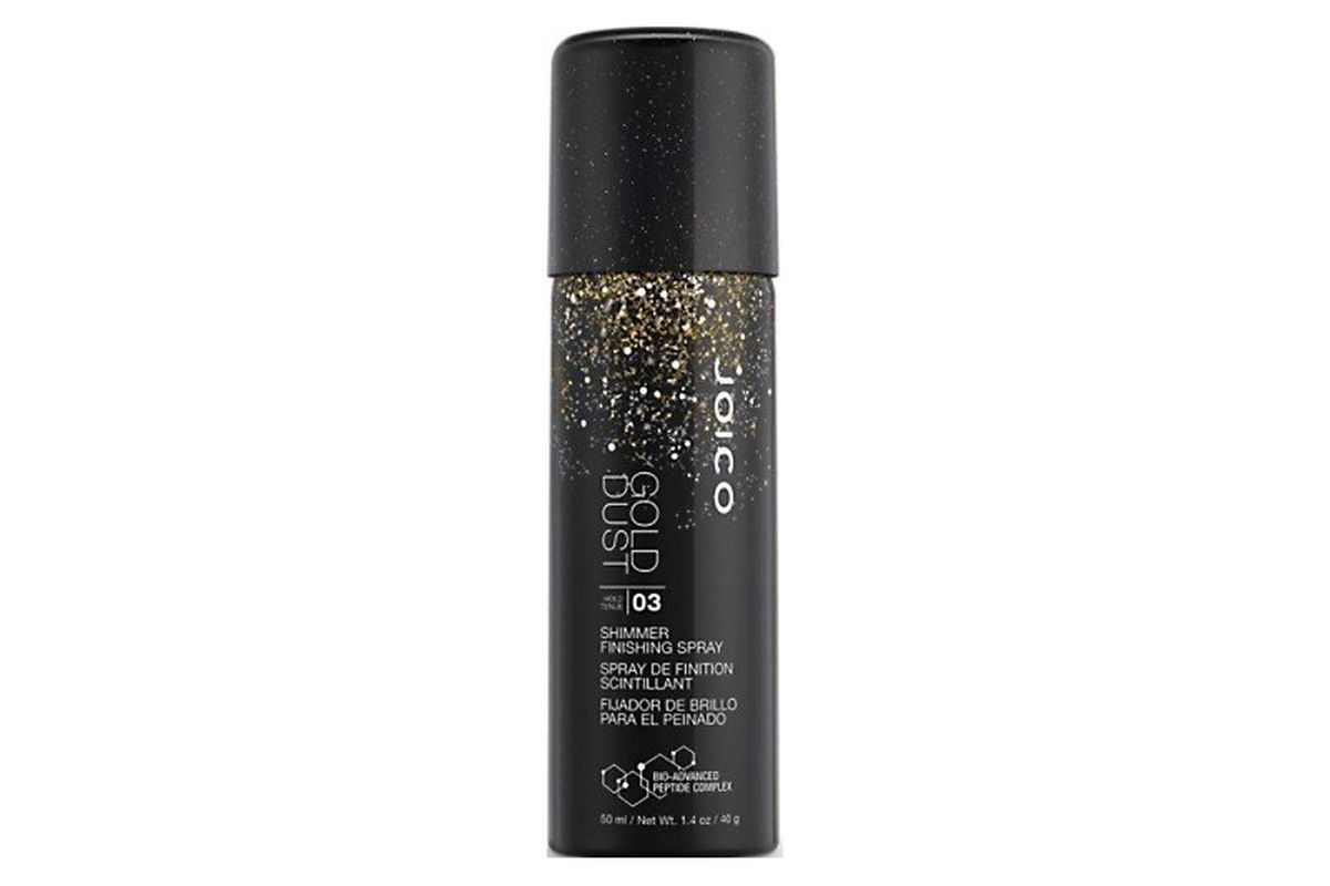 """Joico Gold Dust Shimmer Finishing Spray, <a href=""""http://www.amazon.com/JOICO-GOLD-Shimmer-Finishing-Spray/dp/B00PPIQF7E"""">$10.99</a> at Amazon.com"""