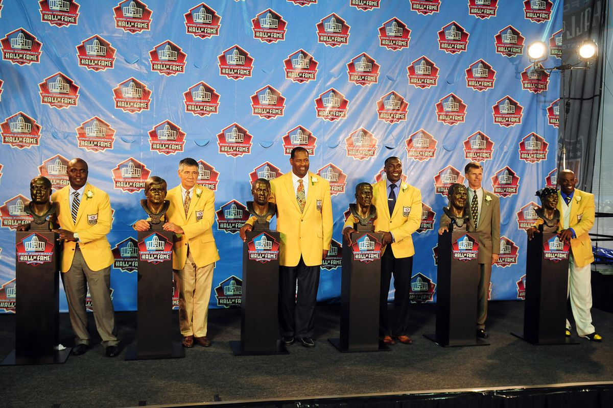 CANTON, OH - AUGUST 6:  The 2011 enshrinement class with their busts at the Enshrinement Ceremony for the Pro Football Hall of Fame on August 6, 2011 in Canton, Ohio.  (Photo by Jason Miller/Getty Images)
