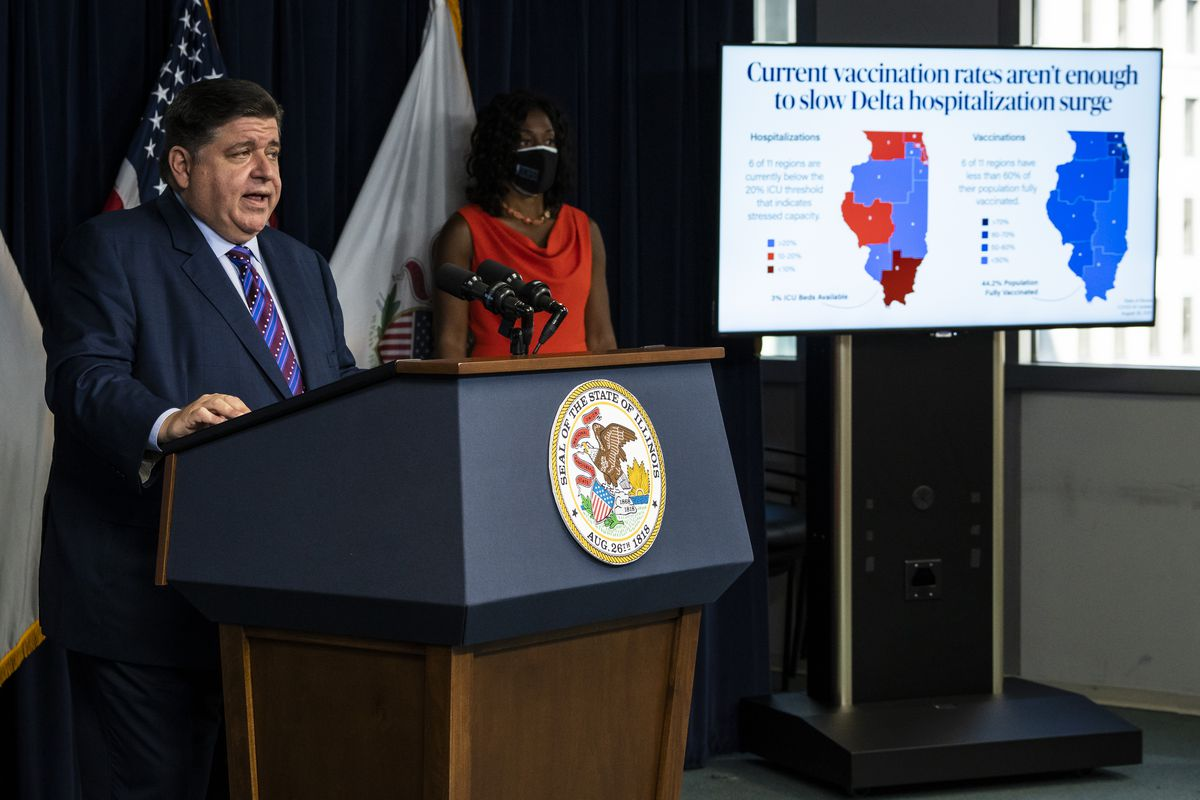Gov. J.B. Pritzker speaks during a news conference at the Thompson Center last month.