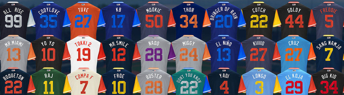 efe70e37f 27 and features brightly colored uniforms and caps. Players will have the  option to put their nickname on the back of their jersey.