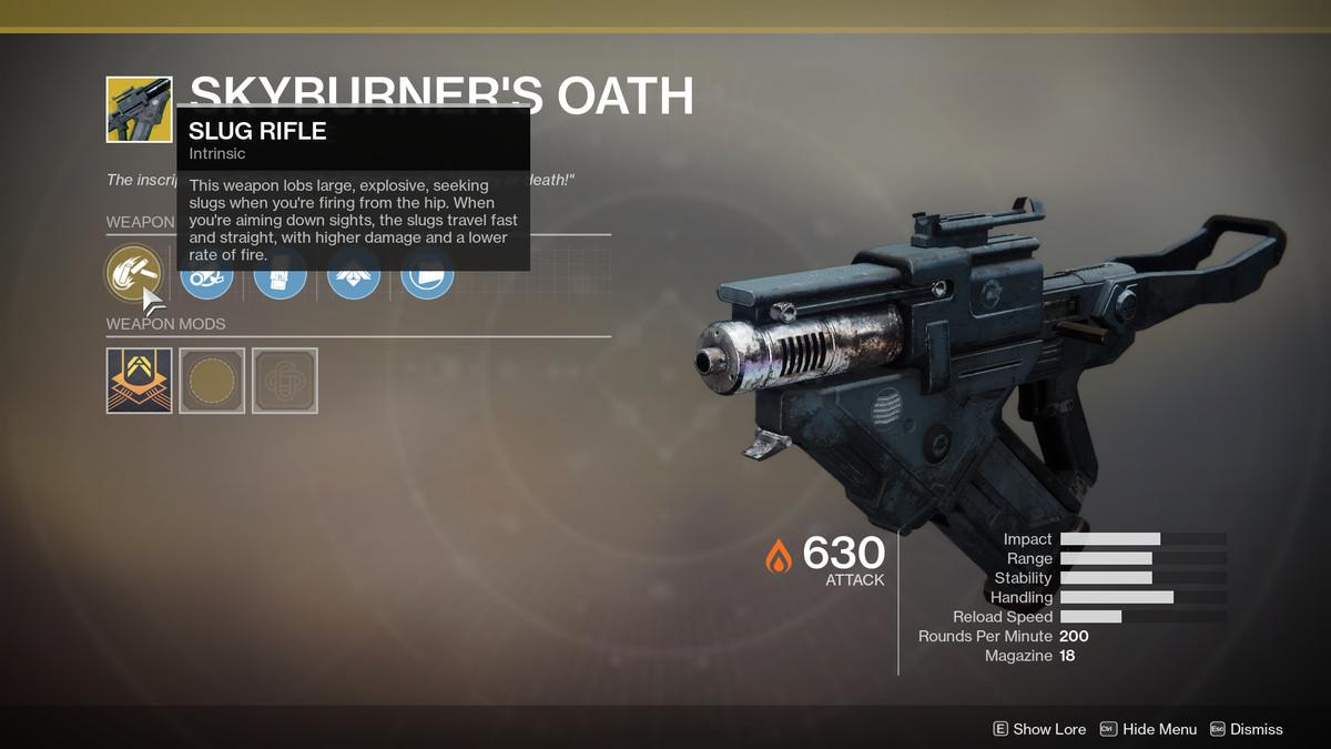 Skyburner's Oath Exotic Destiny 2