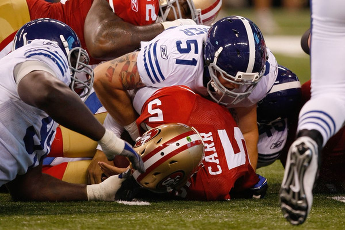 Whether it was in a Texans or 49ers uniform, David Carr was still sacked by Indianapolis.