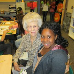 Olivia Anderson with her grandmother Rosalin Anderson at school.