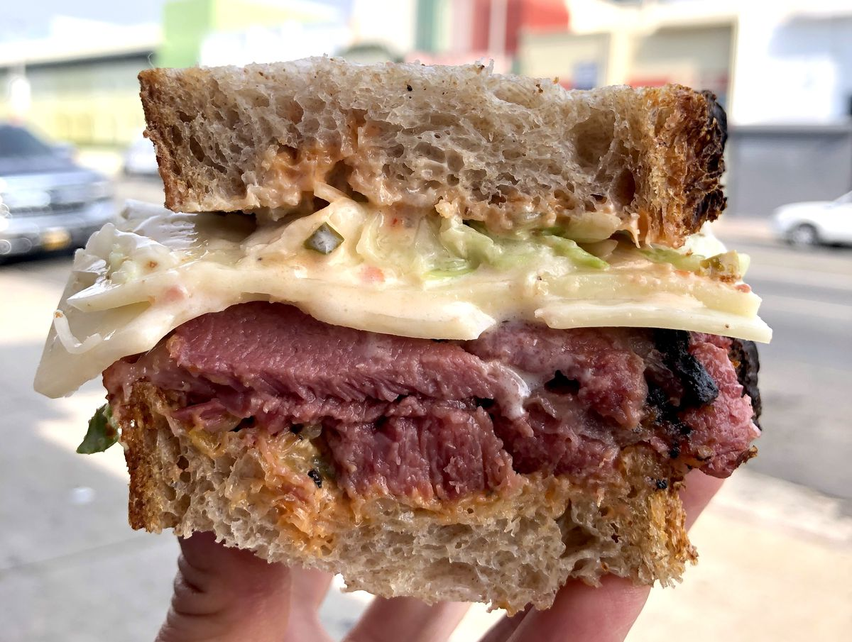 Pit-smoked pastrami Swiss stack from Ugly Drum in Mid-Wilshire.