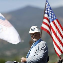 Dick Celeste, left, chairman of the U.S. Olympic Museum board, joins Benita Fitzgerald Mosley, a U.S. Olympic Gold Medalist, during a ceremonial groundbreaking for a new Olympic museum Friday, June 9, 2017, in Colorado Springs, Colo. The $75-million project will be built just blocks away from the U.S. Olympic Committee headquarters an the U.S. Olympic Training Center and breathe new life into the city's core.