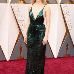 Saoirse Ronan wears Calvin Klein. She told E! she wanted to wear green to represent her home country of Ireland.