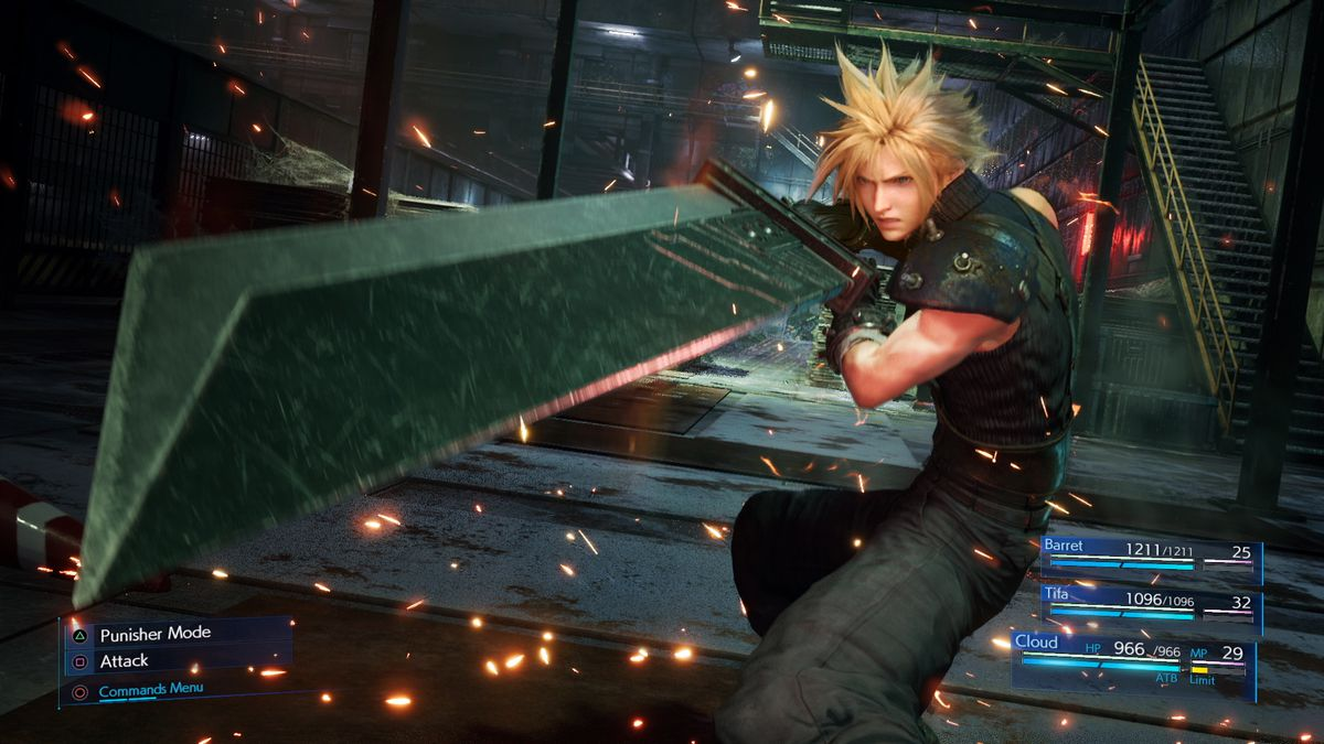 Cloud Strife holds out his massive sword in a screenshot from Final Fantasy 7 Remake