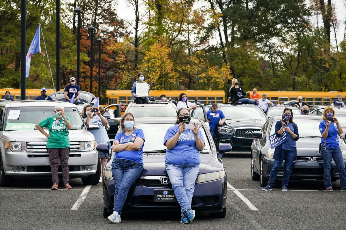 Biden supporters at a drive-in rally.