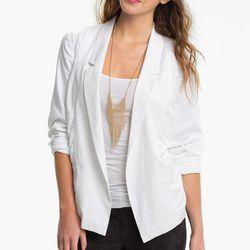 "Open front slouchy blazer, $29 at <a href=""http://shop.nordstrom.com/s/frenchi-open-front-slouchy-blazer-juniors/3331113?cm_cat=datafeed&cm_ite=frenchi(r)_open_front_slouchy_blazer_(juniors):574294&cm_pla=jacket/sportcoat:women:blazer&cm_ven=Google_Produc"