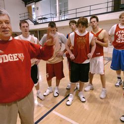 Judge boys prep basketball coach Jim Yerkovich splits up his players into groups as they practice at Westminister College in Salt Lake February 20, 2006. Coach Jim Yerkovich is in his 40th year of coaching at Judge Memorial High School in Salt Lake City. Mark DiOrio/Deseret Morning News