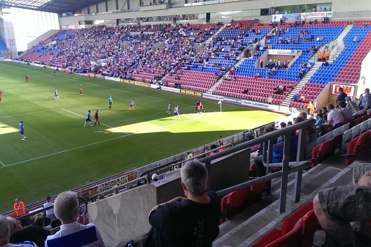Pavel Pogrebnyak holds Wigan in their own corner flag